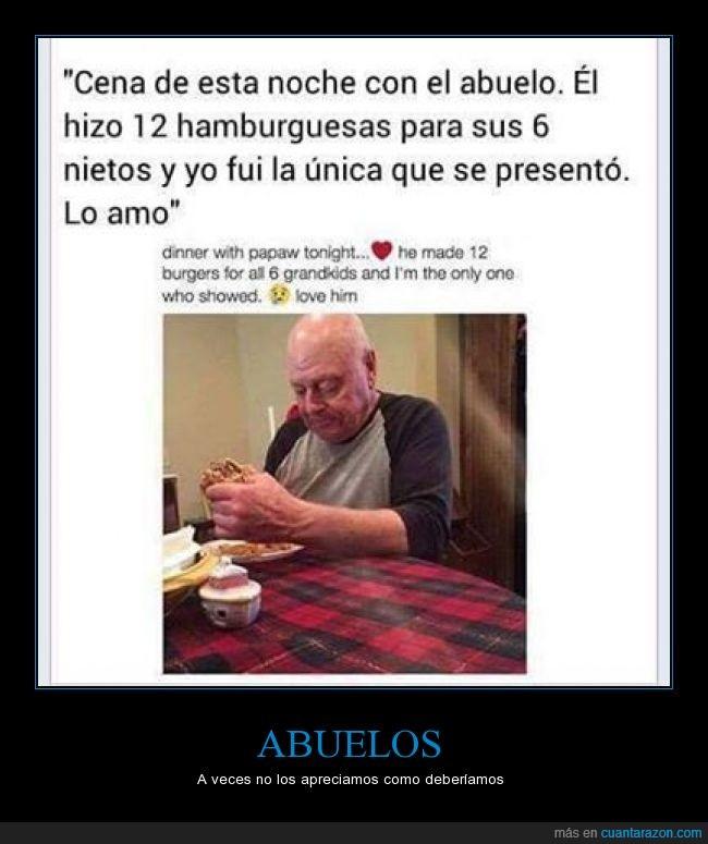 Abuelo,corazón,hamburguesa,llorar,nieto