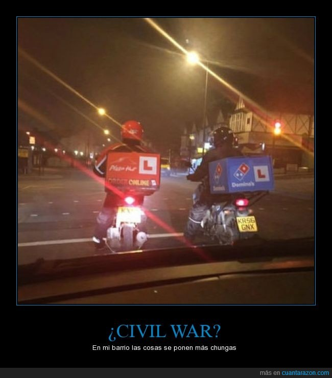 batalla,civil war,delivery,domino,dominos,pizza,repartidores