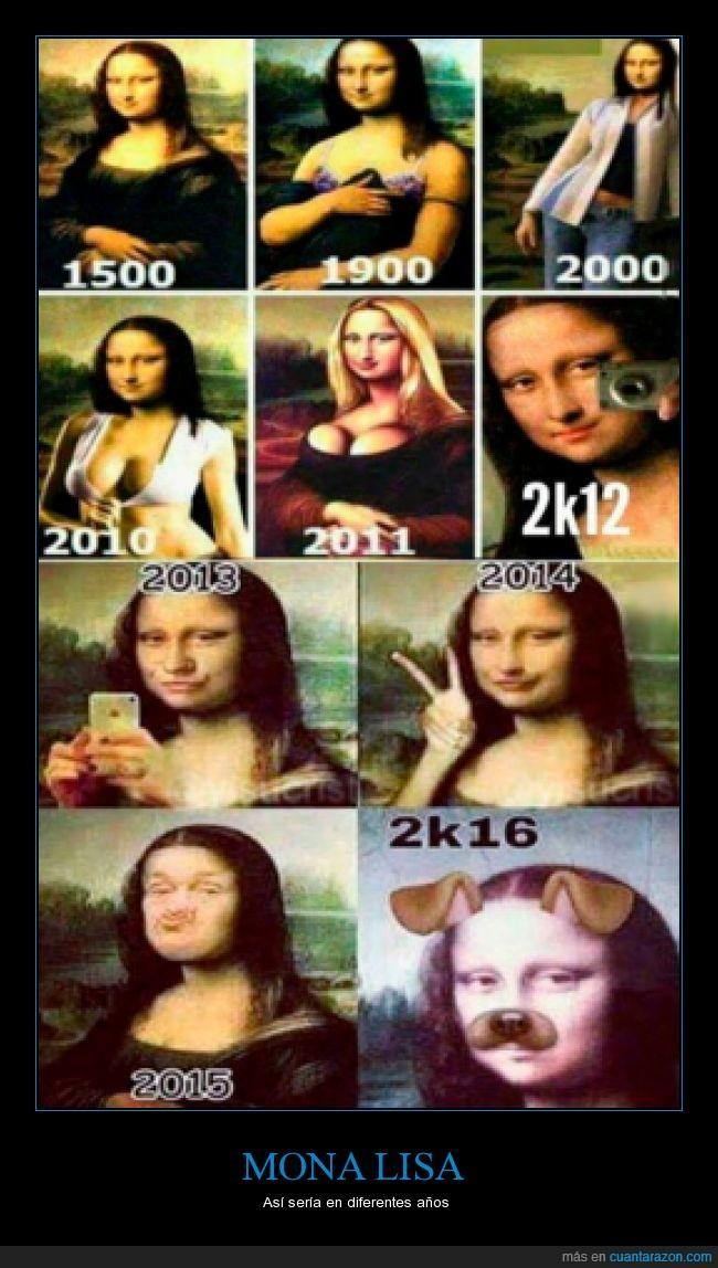 años,cambio,gioconda,moderno,monalisa,perro,selfie,snapchat monalisa,tiempo