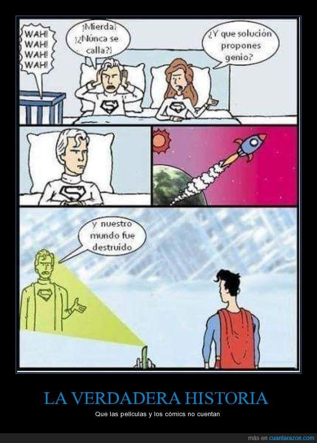 abandonar,caricatura,cómic,dibujos,enviar,historia,humor,nave,origen,padre,Superman