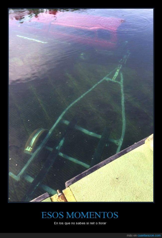 accidente,botes,carro,coche,hundido,rampa para botes