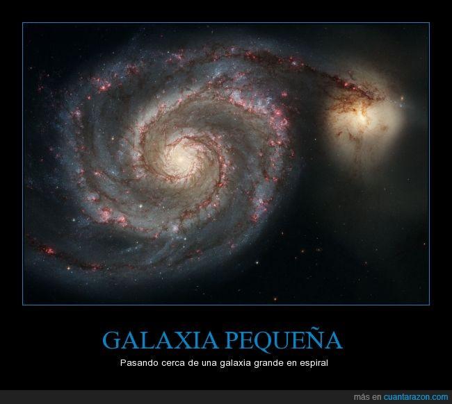 cerca,espiral,estrellas,galaxias,grande,pequeña,universo