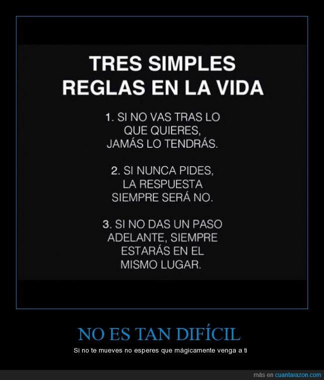 acción,dificil,regla,respuesta,simple,vida