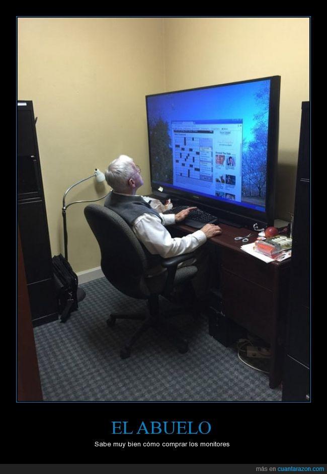 abuelo,cuántas pulgadas tendrá?,gigante,monitor,televisión