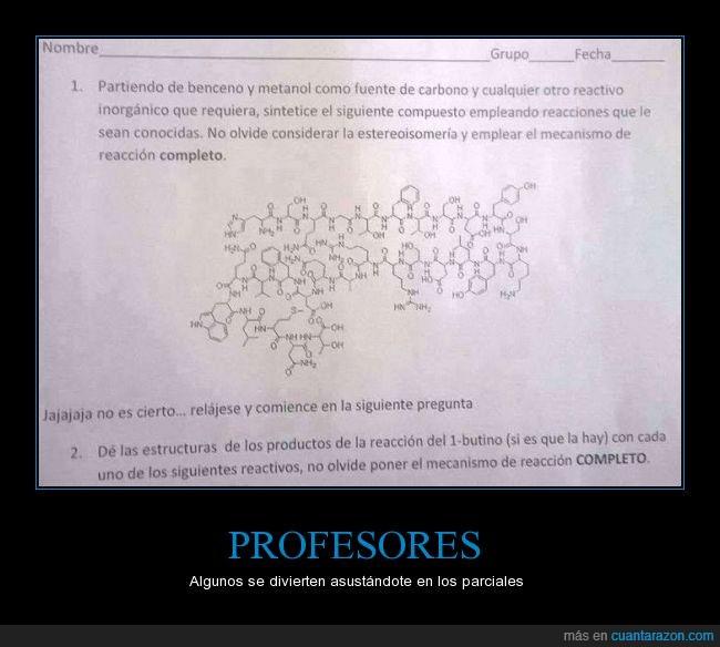 examen,miedo,parcial,química,reactivo,susto,terror