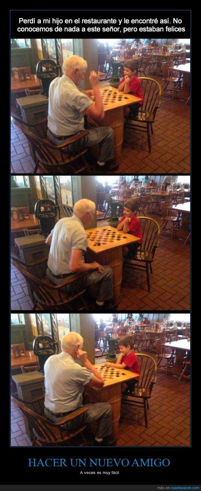 abuelo,amigo,hijo,hombre,perder,restaurante,señor