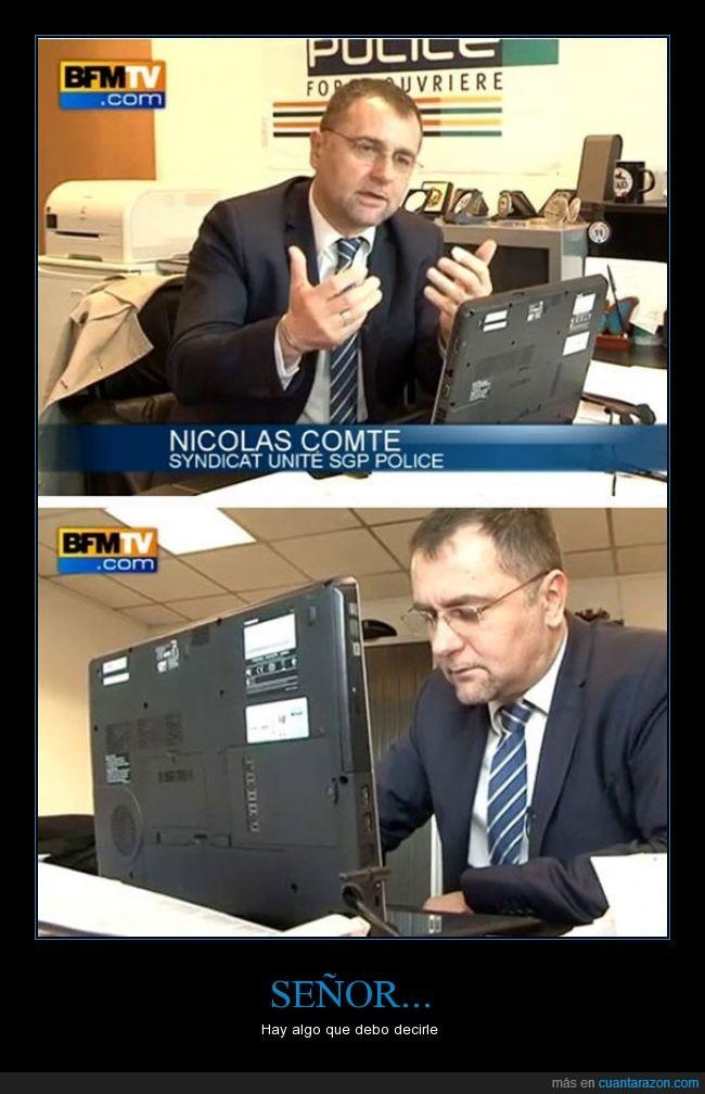 al reves,fail,francia,genial,laptop,policia