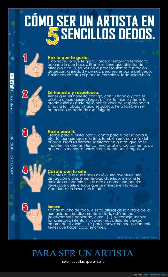 arte,artista,dedos,guía,honestidad,innovar,respeto,subjetividad,tutorial