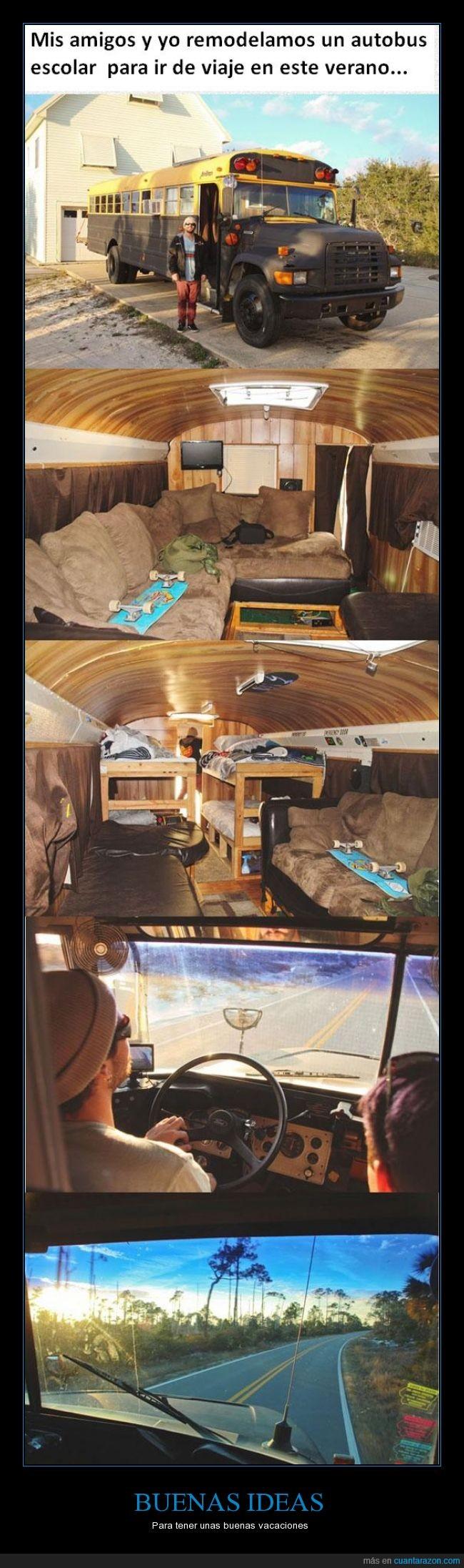 autobus,buena,colegio,construir,genial,idea,remodelar,vacaciones,verano