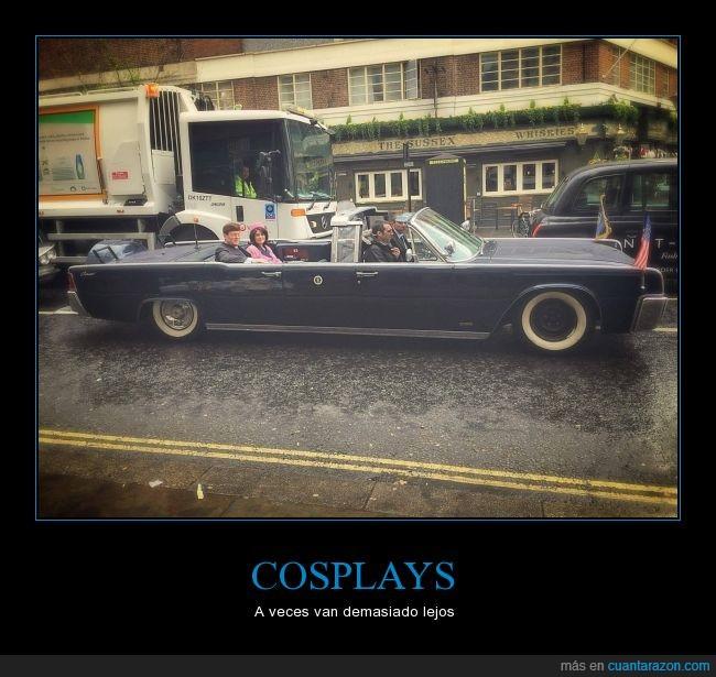 coche,cosplay,descapotable,disparo,jfk,Kennedy,londres,tiroteo