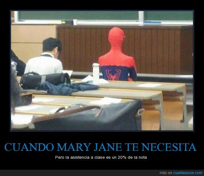 clases,disfraz,Hobre araña,mary jane,pupitre,Spiderman