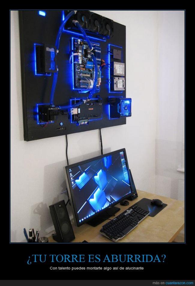 azul,luz,neon,ordenador,pared,sobremesa,torre