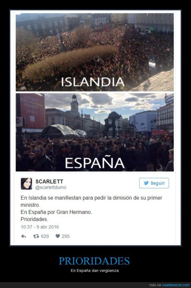 España,Gran Hermano,Islandia,Manifestación