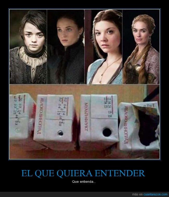 agujero,apertura,Arya,Cersei,entrada,Game of thrones,got,jdt,Juego de Tronos,Margaery,Sansa,zumo