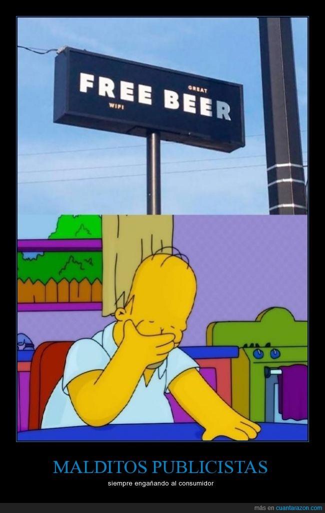 cerveza,gratis,Homer,publicidad,Simpson,wifi