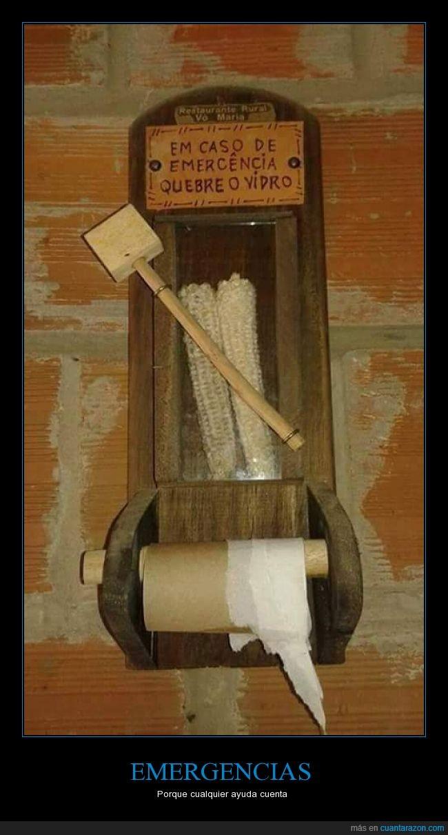 Baño,emergencia,limpiar,maiz,mazorca,papel,romper,seca,vacia,vidrio