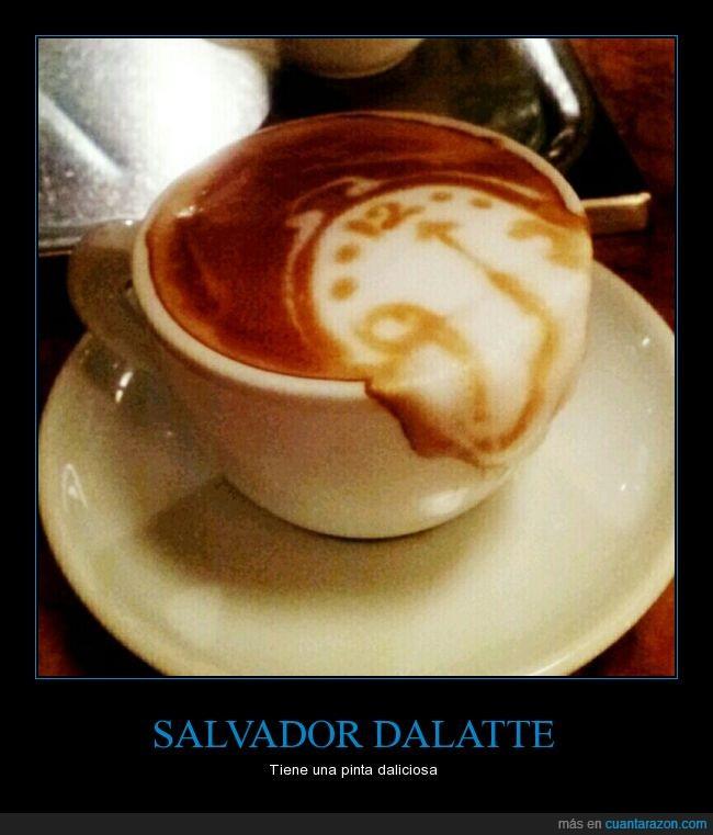 café,cafeina,cuadro,dali,latte,reloj