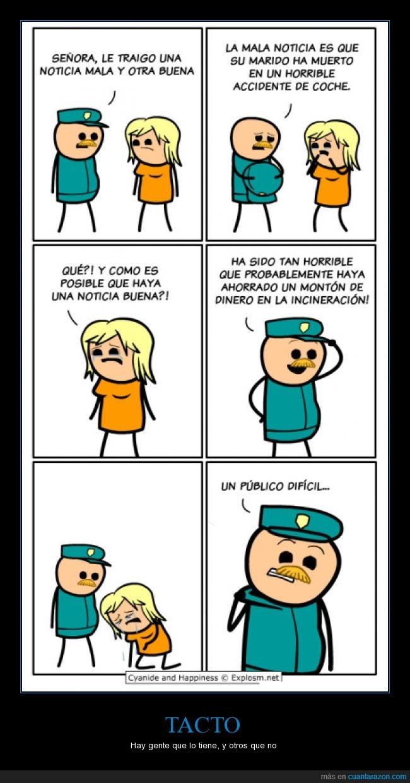 comic,cyanide and happyness,defunción,marido,policía,tacto