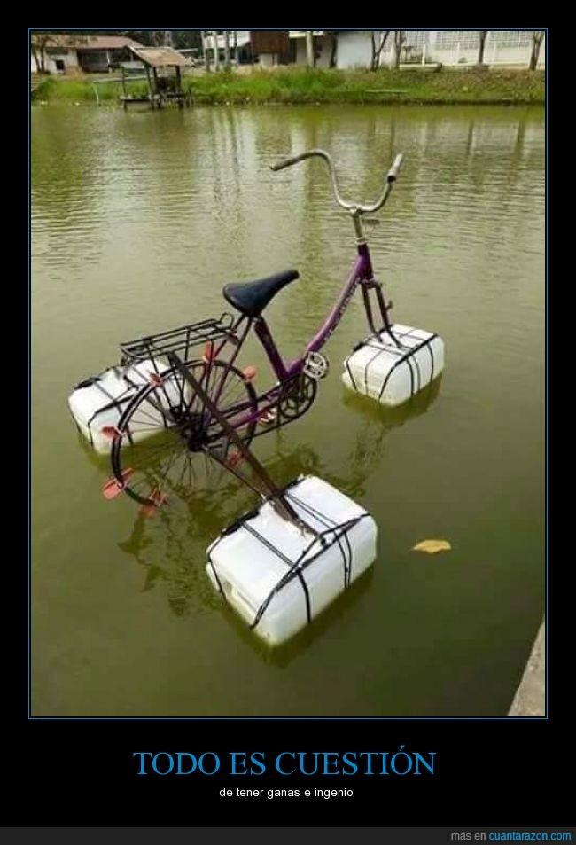 bici,bicicleta,botella,garrafa,inundación,remar,río