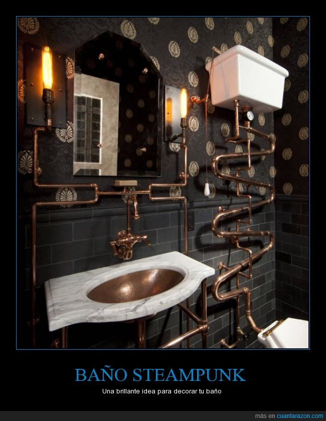 antiguo,baño,brillante,idea,steampunk