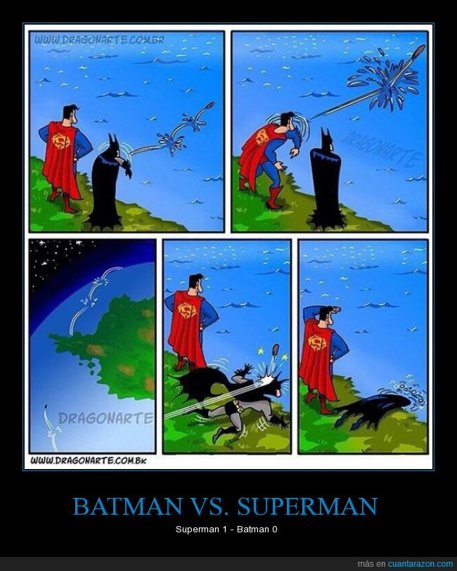 batman,girar,golpe,piedra,rebotar,rio,superman,tierra,tirar,vuelta