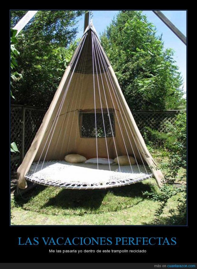 cama elastica,hamaca,indios,reciclar,tipi,trampolin,vacaciones