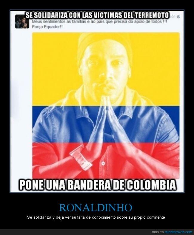 bandera,Colombia,Ecuador,error,Facebook,fútbol,Ronaldinho