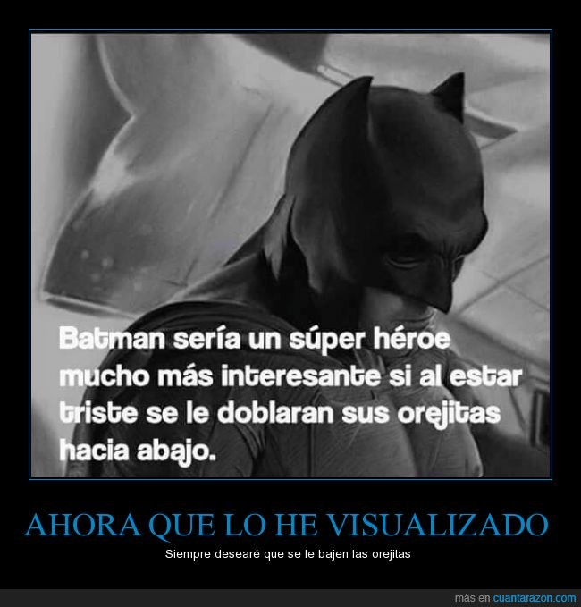 Batman,cuerno,doblar,interesante,oreja,orejita,superhéroe,triste