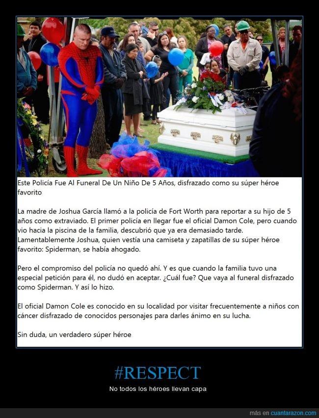 Damon Cole,funeral,Joshua Garcia,niño,Policia,respect,respeto,spiderman