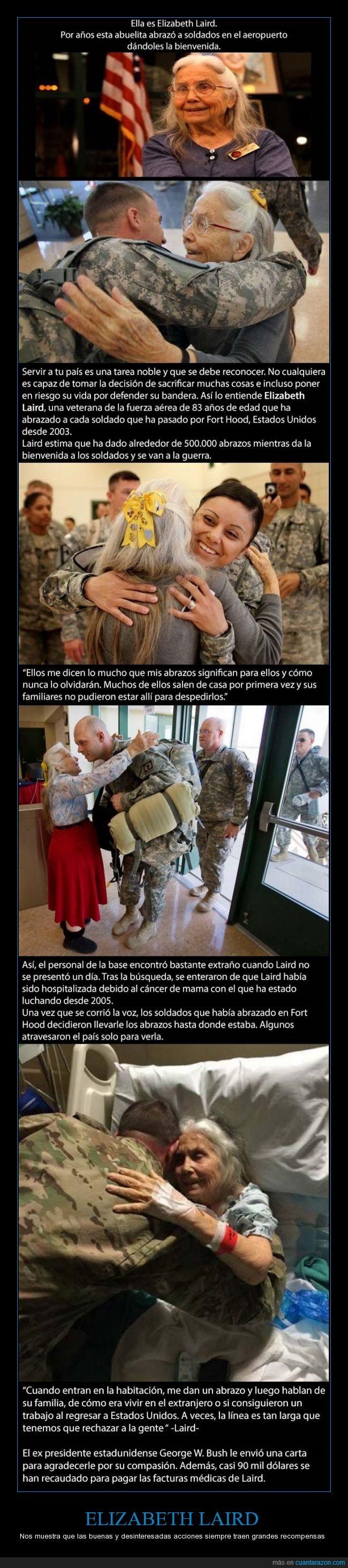 abrazar,acciones,amable,cancer,ELIZABETH LAIRD,hospital,saludar,soldado