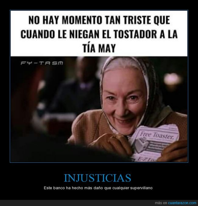 banco,negar,señora,spider man,Spiderman,spiderman 2,tía may,tostadora