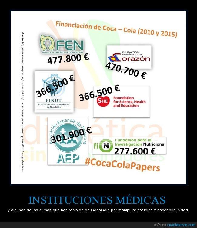 cocacola,cocacolapapers,se ha demostrado como la intervención de la empresa ha modificado los resultados,se supone que están para velar por nuestra salud