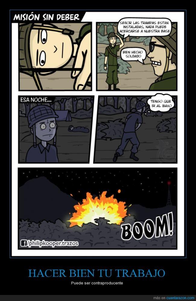 bomba,caricatura,cómic,dibujos,explotar,guerra,humor,lavabo,minas,salir,soldado