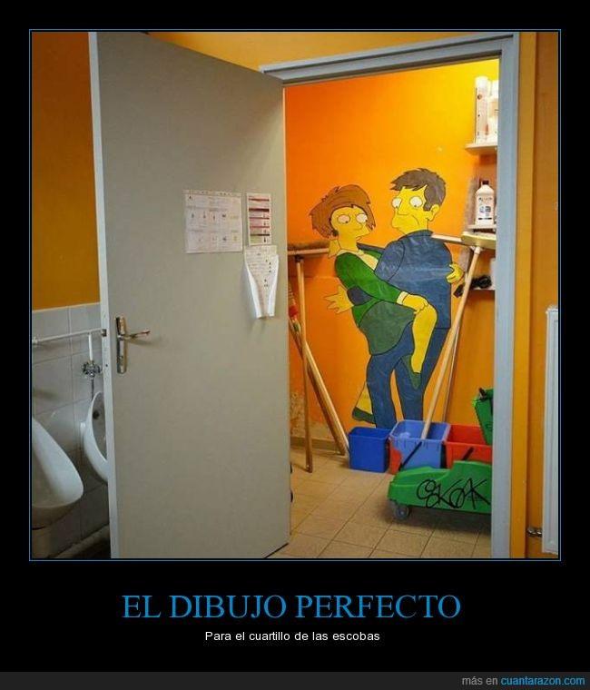 cuarto,dibujo,Edna Krabappel,escobas,mantenimiento,Seymour Skinner,simpson