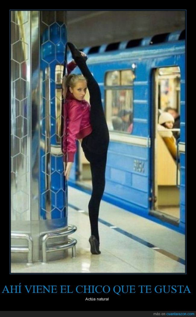 ballet,chica,chico,disimular,gusta,metro,natural