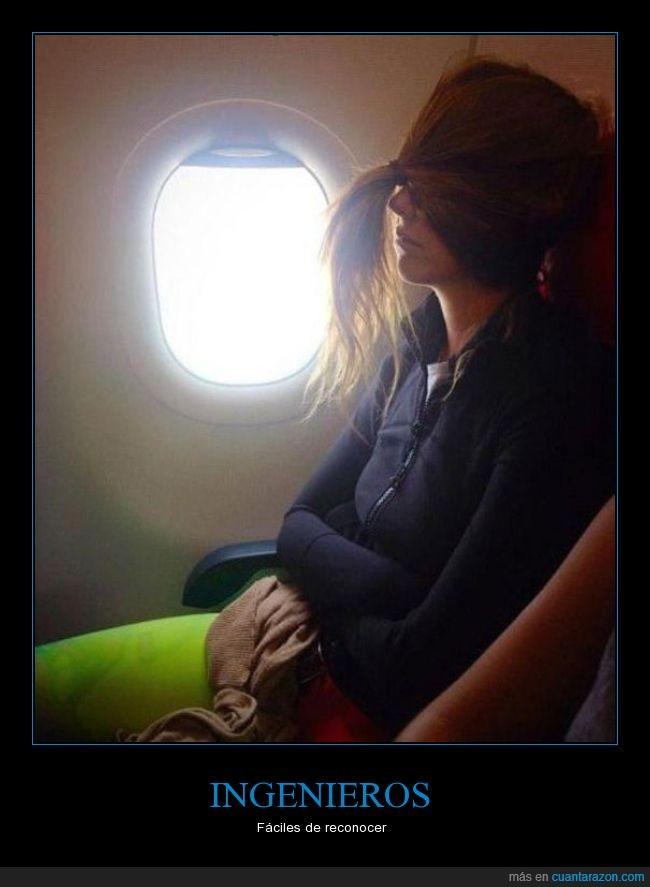 amarrar,avion,cabello,chica,coleta,ingeniera,ingeniero,luz,ojos,pelo,tapar