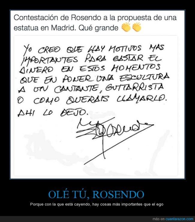cantante,dinero,estatua,guitarrista,llamar,Madrid,propuesta,Rosendo