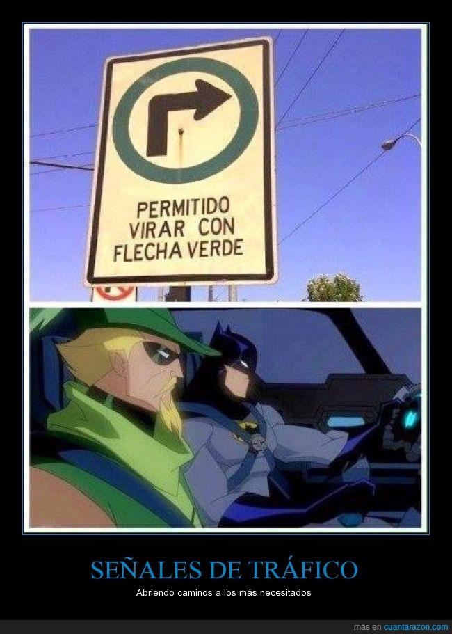 batman,coche,flecha verde,girar,letrero,permitir,señal,trafico