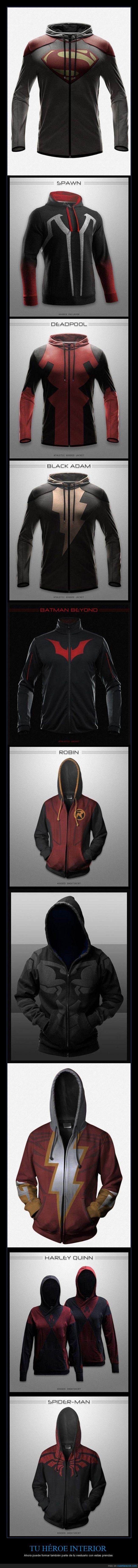Batman,chaqueta,Deadpool,Flash,Harley Quinn,heroe,Robin,Spiderman,sudadera,Superman