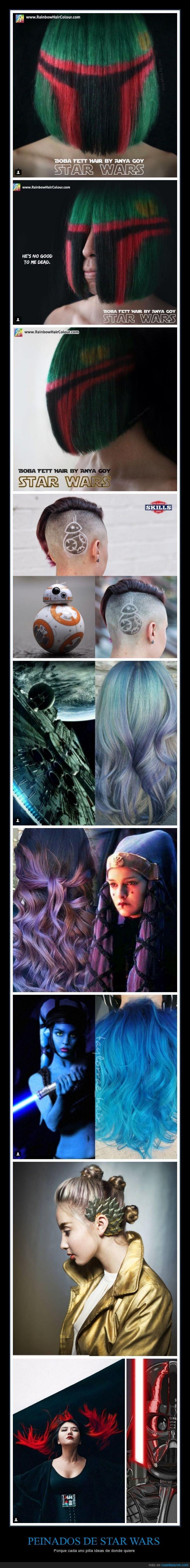 amidala,azul,bb8,boba fett,Darth Vader,peinado,pelo,rey,star wars,tinte