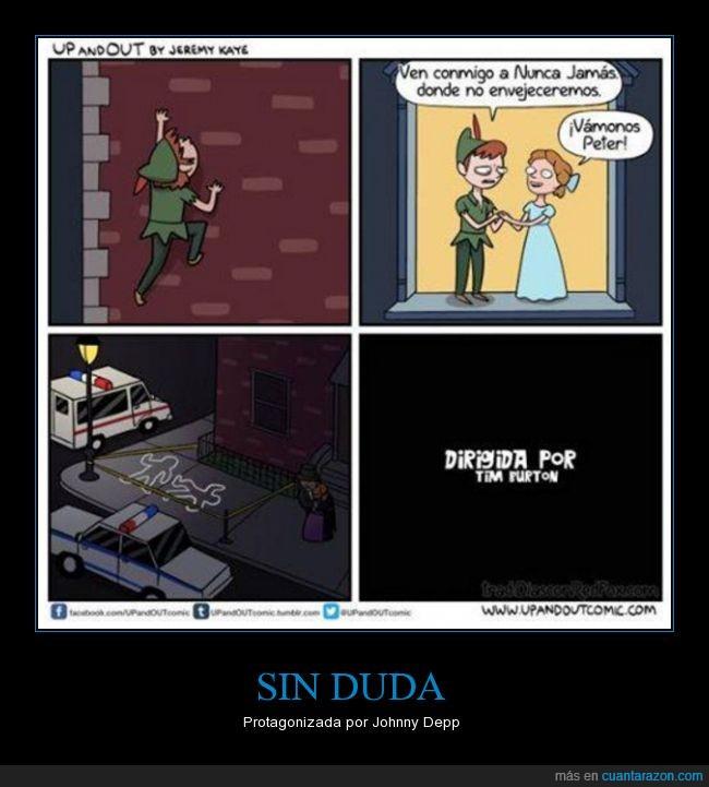 ah no Peter Pan,caer,Johnny Depp,matar,Nunca Jamas,Peter Griffin,Peter Pan,Tim Burton,wendy