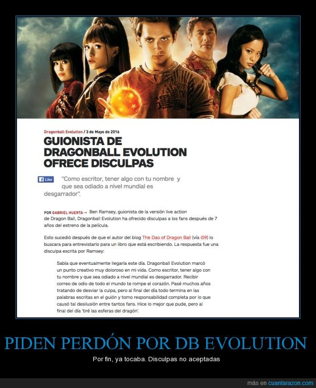 Ben Ramsey,DB evolution,Dragon Ball,Dragon Ball Evolution,guionista,perdon