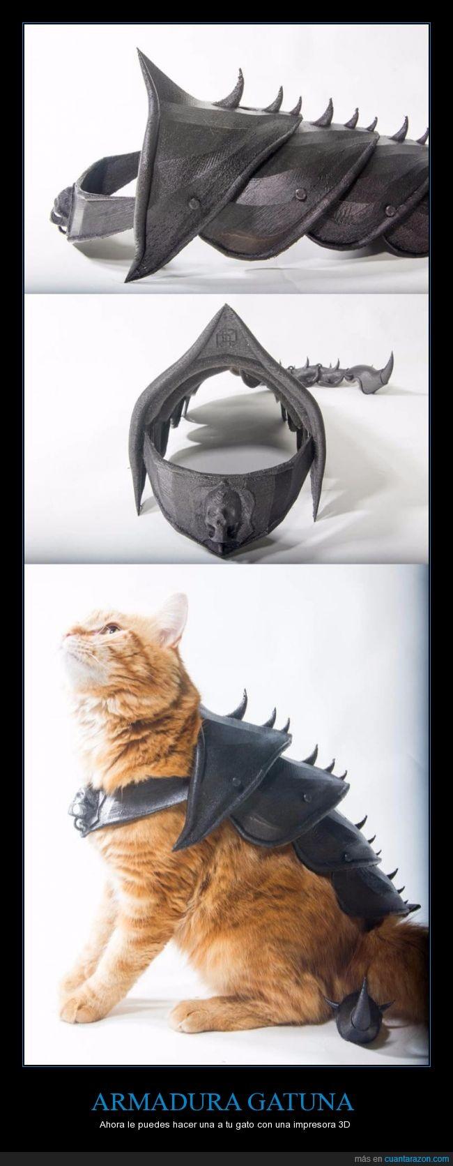 3d,armadura,gato,impresora