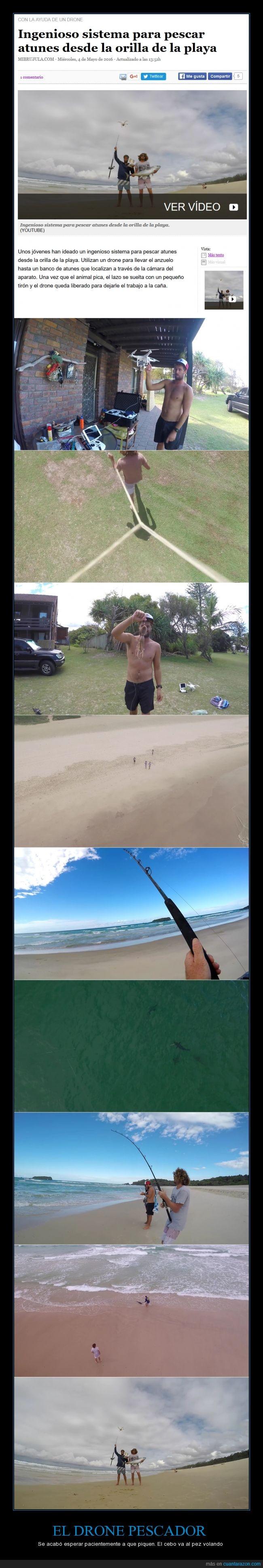 atun,drone,drone pescador,han usado el ingenio,ver el banco de peces