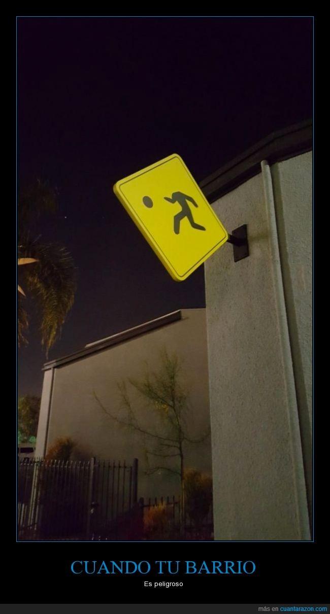 barrio,caer,niño,peligroso,Señal,sin cabeza