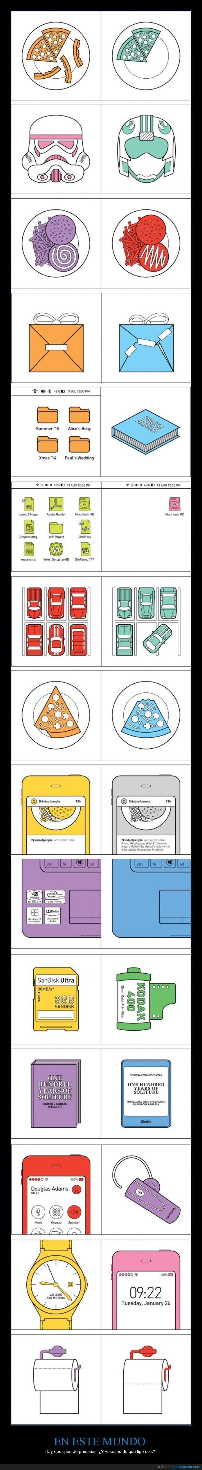 carrete,comida,decisión,diferente,mundo,tecnologia,tipo,tipos de personas