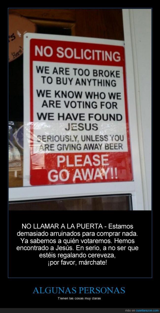 abrir,cartel,Cerveza,familia,gratis,Jesús,Persona,puerta,Testigo de Jehová,Votar