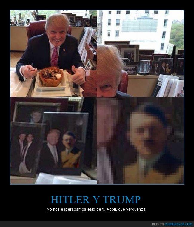 adolf hitler,donald trump,foto,no es fake porque en aquella época no había photoshop,pixelada