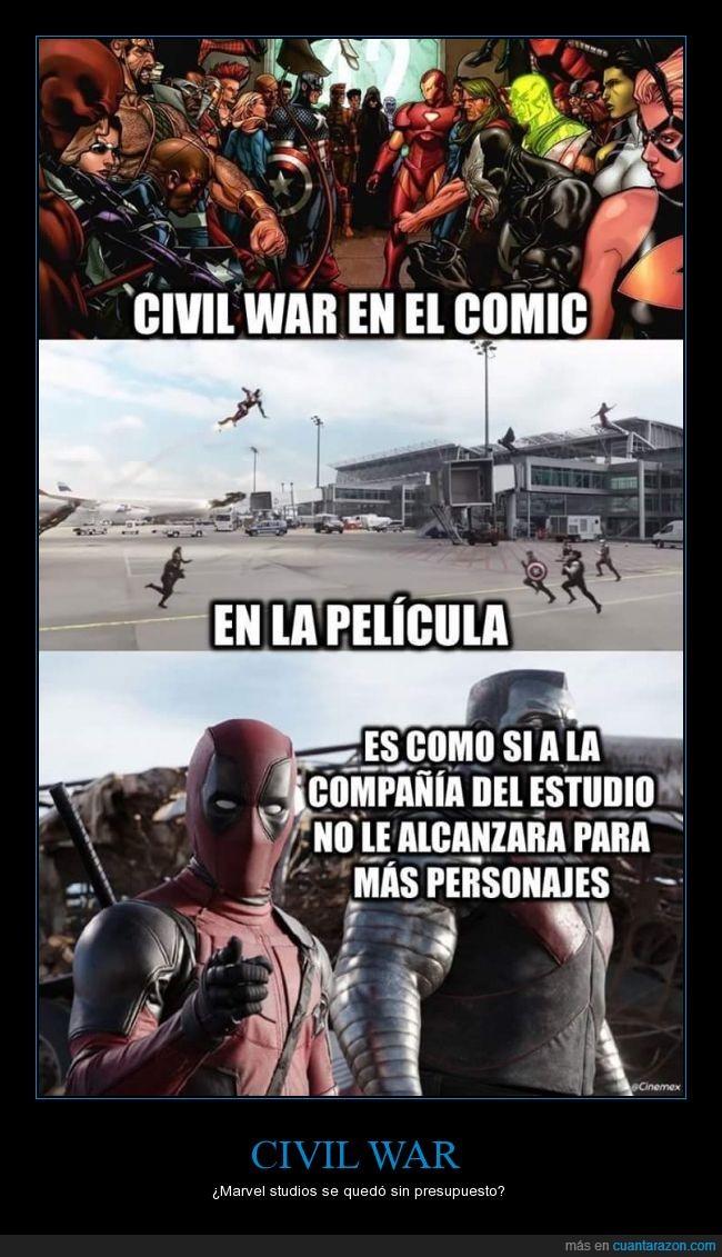 capitán américa,civil war,deadpool,dinero,personajes,presupuesto