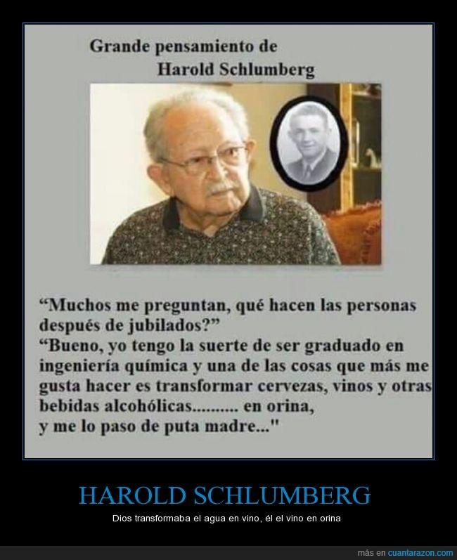 cervezas,Harold Schlumberg,jubilado,Vino